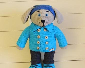 Handmade toy dog, doll dog, amigurumi toy dog, plush toy dog, stuffed animal dog, cute puppy dog, teddy dog, best gift, knitted beige dog
