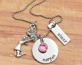 Personalized hand stamped cheerleading necklace - gift for cheerleader - necklace for cheer coach - cheerleading gift