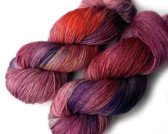 Sock Yarn Handdyed Merino Cashmere Nylon Yarn - Begonia, 430 yards