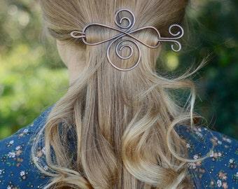 Rustic copper hair accessory shawl pin hammered hair slide brass hair barrette silver hair clip scarf pin hair stick hair fork gift for her