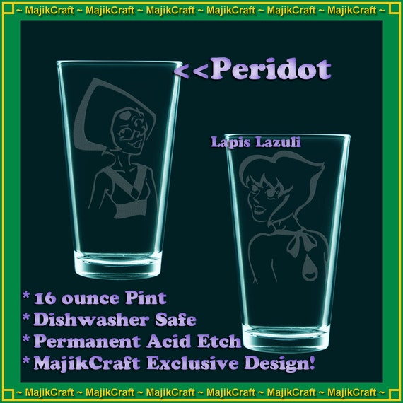 In this listing, you get any FOUR pint glasses from the drop down list. Dont let your drinking Gems get lonely!  (This will definitely save you shipping, and you MIGHT save even more! Rose, Peridot, Lapis Lazuli, and Stevonnie are regularly marked at $15 each, not $12 each. Buy in bulk and