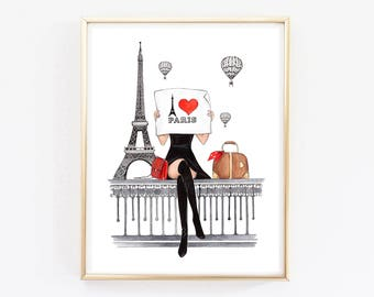 Paris Print Paris Art Print Paris Wall Art Paris Wall Decor Fashion Wall  Decor Fashion Illustration