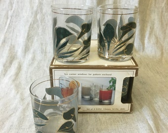 Vintage Culver Double Old Fashioned Glasses with Teal and Gold Calla Lilies, Mid Century Bar Glasses