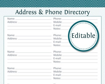 Address & Phone Directory - Fillable - Printable PDF - Instant Download