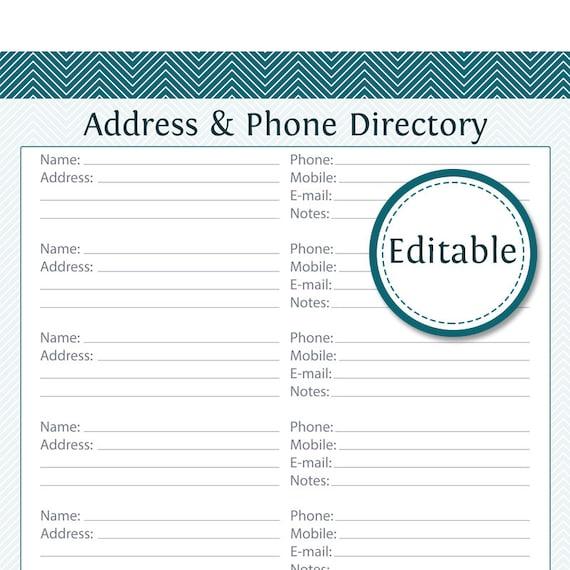 address  u0026 phone directory fillable printable pdf instant