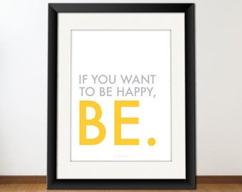 Printable Typography Art, Inspirational Quote Print, Download And Print JPEG Image - Be Happy