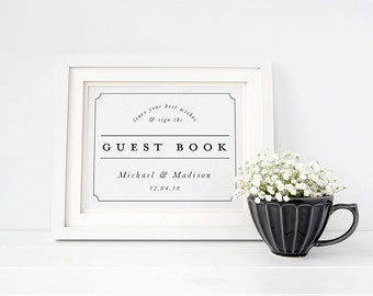 Wedding Sign Template, Editable Printable Template, Printable Sign, Wedding | Border Framed | 5x7 & 8x10 | No. EDN 2013 Guest Book