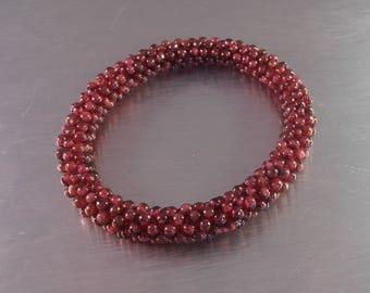 Garnet Bead Bangle Bracelet, Woven Rope, Natural Polished