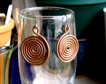 DEUX COIL  handforged copper earrings
