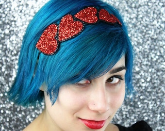 Red Heart Headband, Red Glitter Headband, Several Other Colours Available