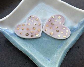 New Ceramic Hearts With Gold Polka Dots.