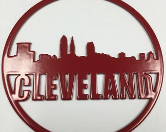 2 Pack: Cleveland Skyline City Pride Christmas Ornament - Steel Blue Red CLE City of Champions Glitter