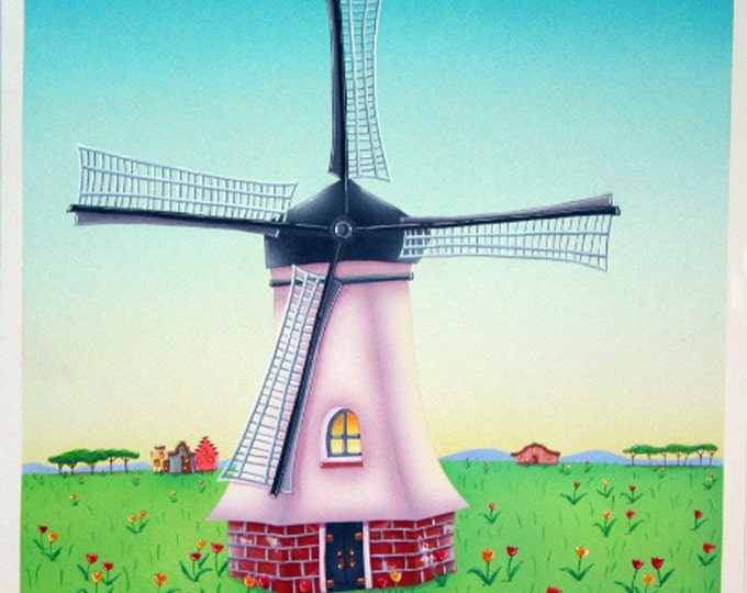 MILL HOUSE Framed Art Print | Windmill Painting | Wind Mill Floral Wall Art | Wind Mill Print | Valerie Walsh Art Work | 12x12