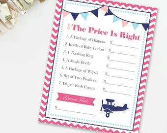 Airplane Price Is Right, Travel Baby Shower Game, Pilot Baby Shower, Girl Shower Game, Airplane Shower, INSTANT DOWNLOAD, Pink and Blue, #A1