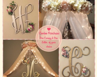 COMBO PURCHASE-Nursery Canopy-Crib Canopy-Baby Canopy-Baby Crib Mobile-Bed Canopy-Canopy With Lights-Nursery Decorations-Canopy For Girls