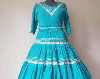 Vintage 1950's/1960's Patio Dress in Aqua and Silver Trim