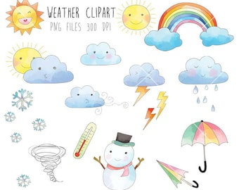 Weather  Clip Art, Rain Cloud, Raindbow clipart PNG file-300 dpi