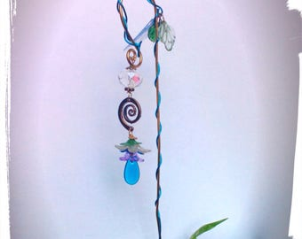 Fairy Garden Miniature Sun Catcher Blue and Gold Post with Leaves and Flowers and Crystals for Miniature Teacup Gardens Terrariums Dolls