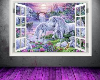 Full Colour Unicorn Window Wall Art Sticker Decal Transfer Graphic Print Girls Bedroom Decor Wall Feature Decals Unicorns WSDW2
