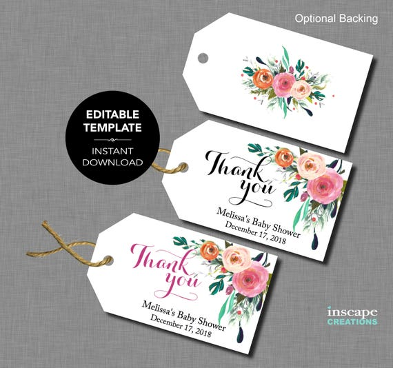 Editable baby shower favor tags editable template thank for Free printable baby shower favor tags template