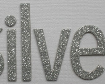 """SiLVER - Glitter Chipboard Alphabet Letters - Lowercase Simple Font  -  2"""" up to 2 1/4"""" inch Letters (42 Letters)"""