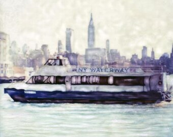 New York Waterway  - Polaroid SX-70 Manipulation - 8x8 Fine Art Photograph, Wall Decor