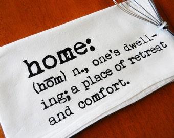 Kitchen Towels Printed with Home Dictionary Description, Tea Towels, Dish Towels, Flour Sack Dish Towel, Home Kitchen Towel