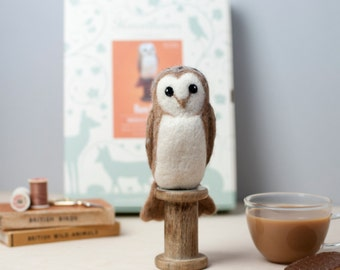 Barn Owl Bird Kit - Needle Felting Craft Kit - Make Own Owl - British Yarn & Design - Gift