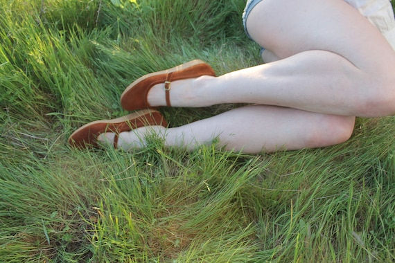 MATCHSTICKS Vintage 1970's Brown Sued Leather Mary Jane Platforms
