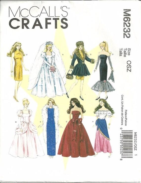 McCalls 6232 Barbie Doll Clothes Sewing Pattern Gypsy Wedding ...