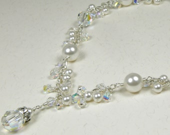 Crystal and Pearl Wedding Necklace, Bridal Jewelry, Bride Clear Swarovski Pendant, White Pearl, Sterling Silver, Cluster Handmade, Spring