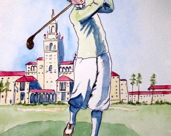 Golf art, vintage Saint Andrews, original watercolor, 8x10 inches