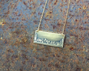 Chicago Illinois skyline necklace   Chicago skyline pendant   etched copper pendant   handmade gift   jewelry for her
