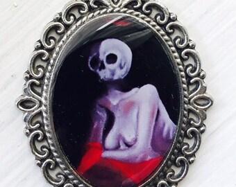 Lady Skull Resin Pendant Oval Antiqued Pendant, Gothic Original Image