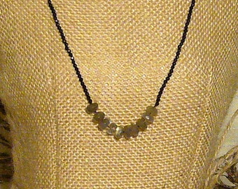 Petite Faceted Onyx and Labradorite Necklace