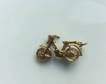 14k gold 3D moped motorcycle motorbike charm