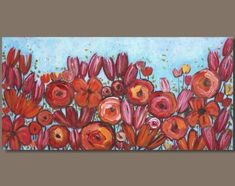 FREE SHIP abstract painting, flowers, bold color pink and orange turquoise blue panorama painting, floral botanical modern pop art on canvas