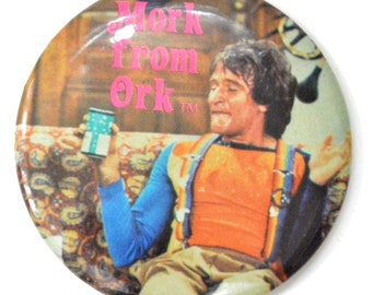 Vintage 70s Mork from Ork Pinback Button Pin Badge