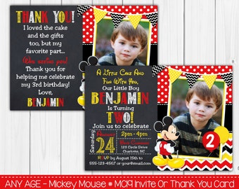 Mickey Mouse Invitations - Birthday Invitation Or Thank You Card ,Note Cards Invites, Invitaitons Personalized Digital file - Custom Colors