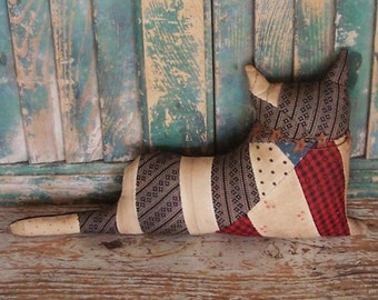 Rustic Cat Doll, Antique Quilt Top, Primitive Cat, Farmhouse Decor Home Decor Trends Zakka Home Decor Ideas, Red Black White - READY TO SHIP