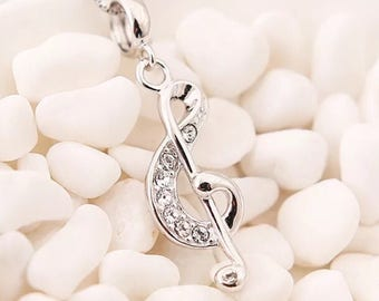 Silver 925 Necklace, Music Necklace, Treble Clef