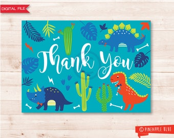 Boys dinosaur thank you card | Jungle thank you card | Dinosaur thank you card | Boys dinosaur birthday party | Dinosaur themed party