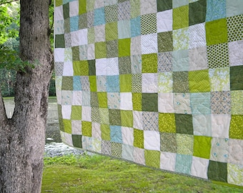 Patchwork Quilts, handmade cotton bedding, King Size--93X106--Spring Green, moss, pea, grey, beige  comforter, unique gift, roomy bespread
