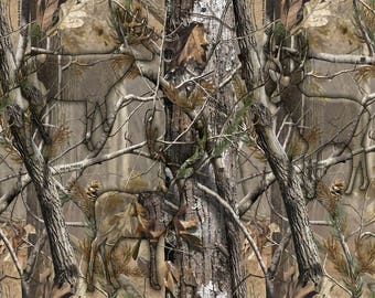 RealTree Cotton Fabric with Hidden Animals-Realtree Camo Cotton Fabric-Sold By the Yard-100% Cotton
