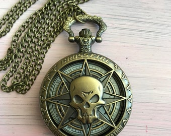 Antique Bronze Skull pirate ornate pocket watch collectible