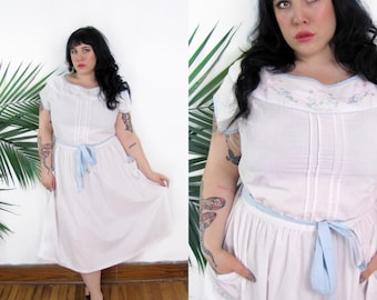 Plus Size Vintage 1980's White Embroidered Dress Size 1X 16 18