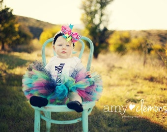 Animal Print Birthday Tutu and matching hair bow Great for Birthdays, Photography Prop, and Dance