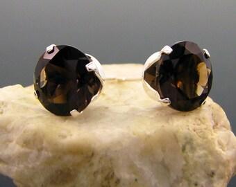 smoky quartz earrings, BIG smoky quartz stud earrings 10 mm, smoke quartz studs, smoky quartz jewelry
