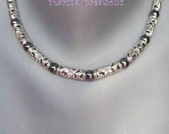 Necklace boho chic Tibetan silver, genuine Hematite COA036 gift idea