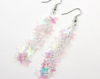 Star Earrings Twinkling Iridescent Clear Stars Dangling Plastic Sequins